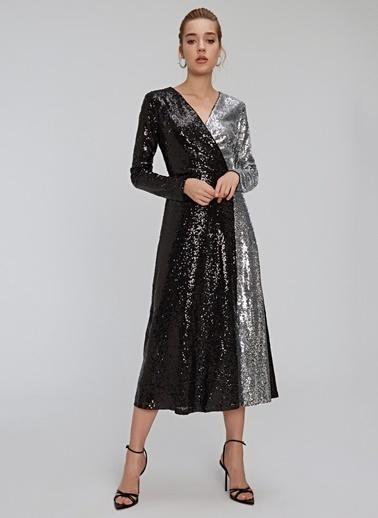 People By Fabrika Kontrast Payet Elbise Siyah